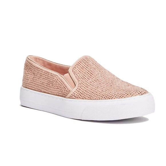 a941df35acc G by Guess rose gold rhinestone slip on sneakers